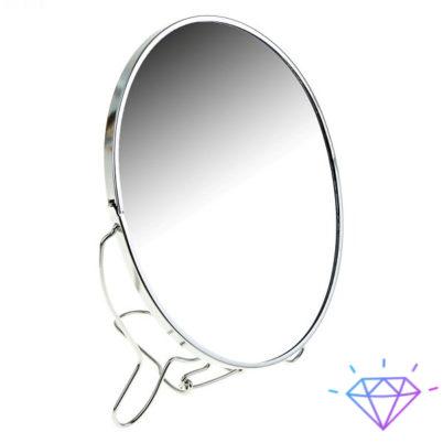Косметическое зеркало №6 диаметром 13,5см. это незаменимый помощник женщины. Зеркало круглое в металлической рамке двустороннее с металлической подставкой устанавливается на стол. Одна из сторон зеркала имеет пятикратное увеличение, что позволяет аккуратно и с комфортом сделать макияж или провести косметологические процедуры в домашних условиях.