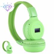 Беспроводные наушники N-65BT ЖК дисплей MP3 плеер FM радио - Зеленые