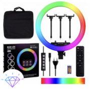 Кольцевая LED лампа RGB MJ18 45см (3 крепления) пульт + сумка)