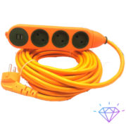 удлинитель для строители двухсторонний 3 гнезда + 3 гнезда + 2 USB разюм